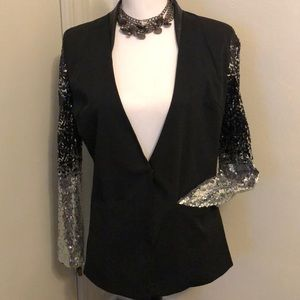 Haoduoyi Ladies Black Bling Sequin Top Jacket Sexy